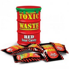 Toxic Waste Red Sour Candy Drum